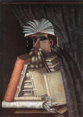 Pintura do italiano Giuseppe Arcimboldo, imagem de bibliotecário feita de uma pilha de livros