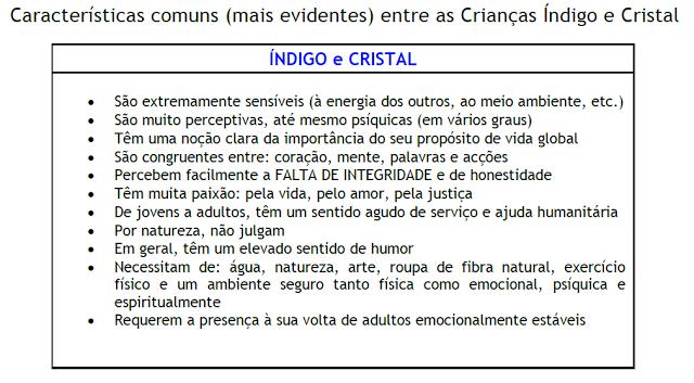 Características Indigo e Cristal